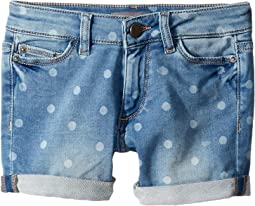 Piper Mid Wash Polk Dot Knit Denim Cuffed Shorts in Bluebird (Big Kids)