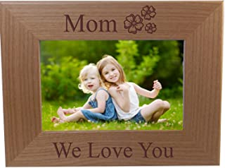 Mom We Love You - Engraved Wood Picture Frame - Fits 4x6-inch photo