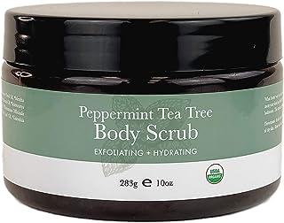 Organic Body Scrub - Peppermint Tea Tree Sugar Scrub Hydrating Exfoliating Body Scrub for Women & Men, Body Exfoliator for...