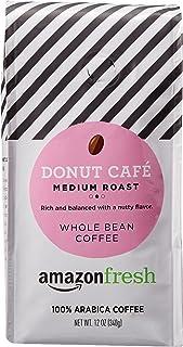 AmazonFresh Donut Cafe Whole Bean Coffee, Medium Roast, 12 Ounce