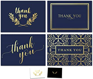 $21 » 100 Thank You Cards Bulk Set - Includes Gold Foil Thank You Notes, Blank Cards with Envelopes, Stickers & Box - Perfect for Business, Wedding, Bridal Shower, Baby Showers, Funeral, Graduation