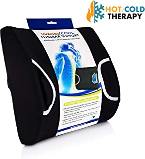 Vaunn Medical Lumbar Back Support Cushion Pillow with Complimentary Warming and Cooling Gel Pad for Pain Relief Therapy