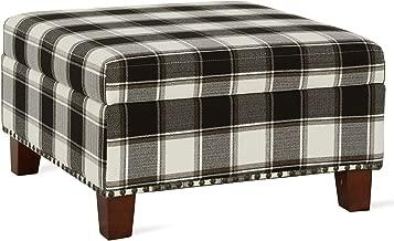 Dorel Living DL7099P-BK Montana Storage Plaid Pattern Ottoman, Black and White Checkered