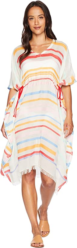 Sunset Metallic Stripe Side Tie Caftan