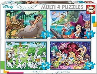 Educa Multi Classiques Disney. 4 Puzzles Progressifs Enfant 50/80/100/150 pièces. +5 Ans. Ref. 18105, Varié