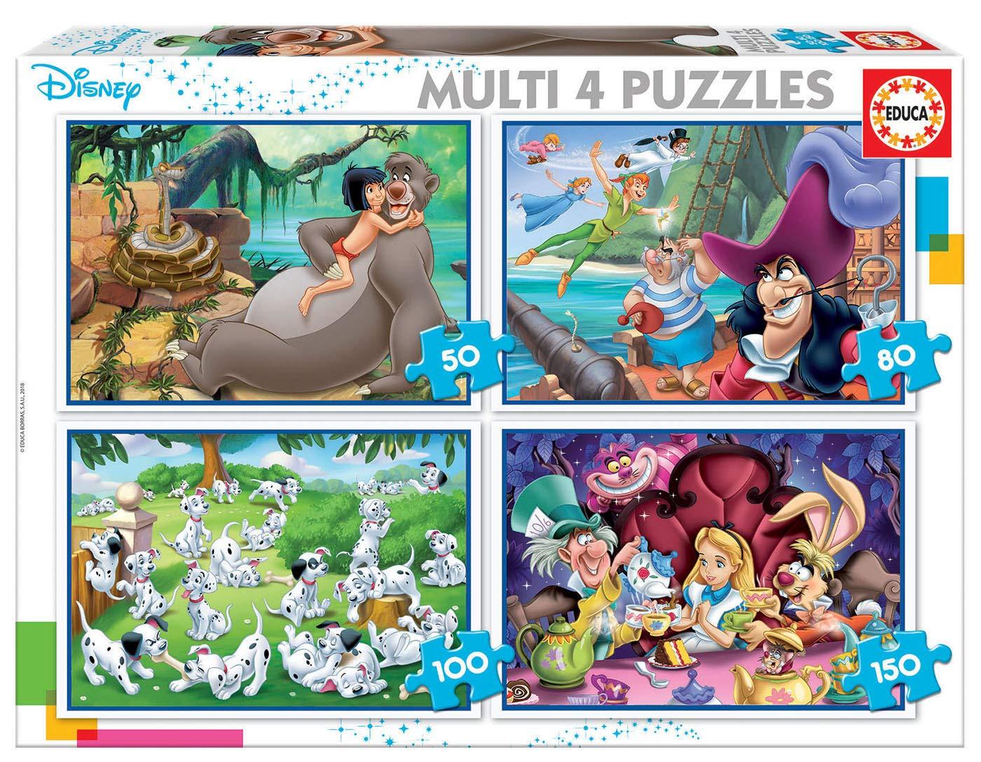 Educa - Multi 4 Puzzles Junior, puzzle infantil Clásicos Disney: Aladdin, Jungle Book, Alicia, Peter Pan de 50,80,100 y 150 piezas, a partir de 5 años (18105): Amazon.es: Juguetes y juegos