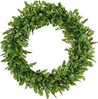 TINGOR Artificial Green Leaf Wreath, 15'' Boxwood Round Wreath for Front Door Wall Window Party Décor