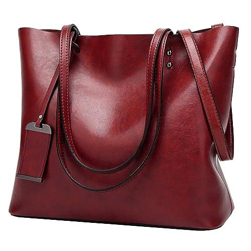 7d79924df7 ilishop Greased PU Leather Handbag Purse-Classical Large Capacity Tote Bag-Vintage  Designer Shoulder