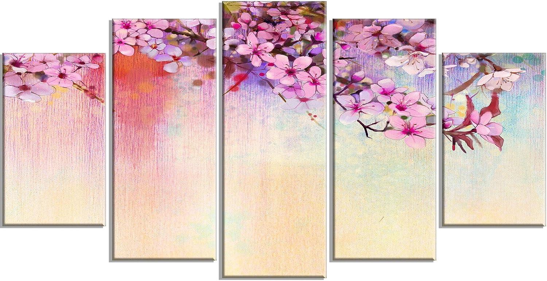 Design Art PT14088-60-32-5PD Watercolor Painting Cherry Blossoms - Flower Canvas Print Artwork, 60x32-5 Panels Diamond Shape