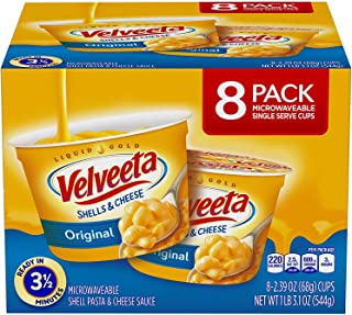 VELVEETA Original Microwavable Shells & Cheese Cups, 8 Count Box | Single Serving Cups with Delicious Velveeta Cheese Sauc...