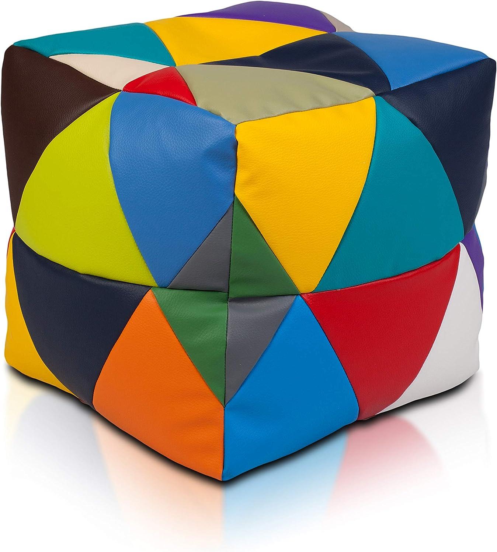 Ecopuf Cube S Patchwork Pouf Poggiapiedi Quadrato in Ecopelle Pieno di Palline di Polistirolo Puff 37x37cm