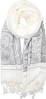 Women's Two Toned Paisley Lurex Jacquard Pashmina Shawl Wrap Scarf
