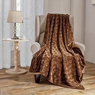 Faux Fur Throw Blanket Super Soft Fuzzy Luxurious Warm Fluffy Plush Rose Decorative Fleece Blanket for Bed Couch Chair, Brown Rose, 50