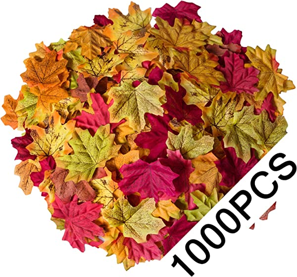 Bassion 1000 Pcs Assorted Mixed Fall Colored Artificial Maple Leaves For Weddings Events And Decorating
