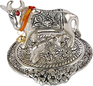 Aatm Brass Figurine Kamdhenu Cow & Calf Shape Statue Best for Home & Office Decoration & Gift Purpose Handicraft (4.5 and 4 Inches)