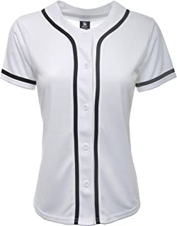Women Baseball Jersey Plain Button Down Shirt Tee 420
