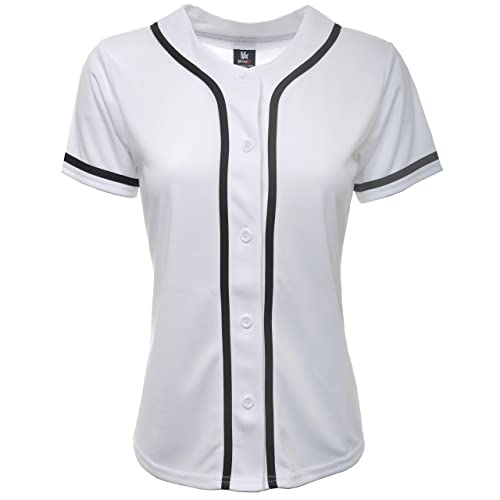 381ab0f5 YoungLA Women Baseball Jersey Plain Button Down Shirt Tee 420