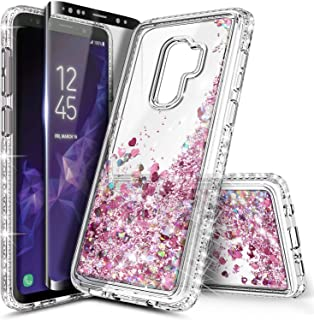 Galaxy S9 Plus Case w/[Full Cover Screen Protector Premium Clear], NageBee Glitter Liquid Quicksand Waterfall Flowing Sparkle Bling Diamond Cute Case Designed for Samsung Galaxy S9 Plus -Rose Gold