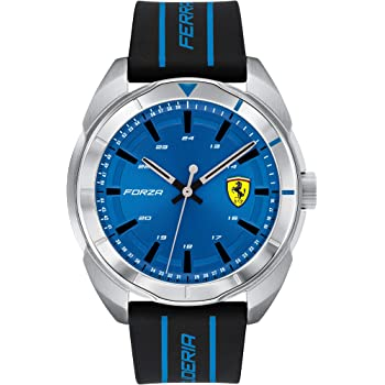 Ferrari Forza, Quartz Stainless Steel and Silicone Strap Casual Watch, Black, Men, 830545
