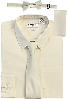 Gioberti Boy's Long Sleeve Dress Shirt + Solid Tie