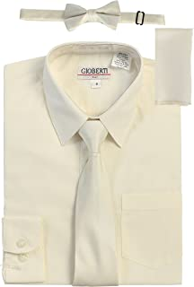 Boy's Long Sleeve Dress Shirt + Solid Tie, Bow Tie, and Hanky
