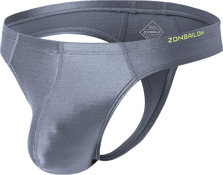 Zonbailon Ice Silk Thong for Men Big Pouch Sexy Male T Back Underwear Bulge Enhancing Thongs G-String M L XL XXL