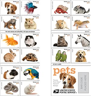 Forever USPS Stamps Pets Celebrate Animals in Our Lives That Bring Joy, Companionship, and Love (1 Book of 20)