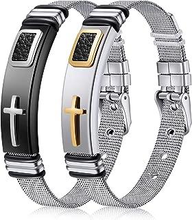 Best stainless steel mens cross bracelet Reviews