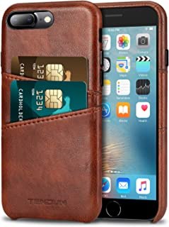 TENDLIN Compatible with iPhone 7 Plus Case/iPhone 8 Plus Case Wallet Design Premium Leather Case with 2 Card Holder Slots ...