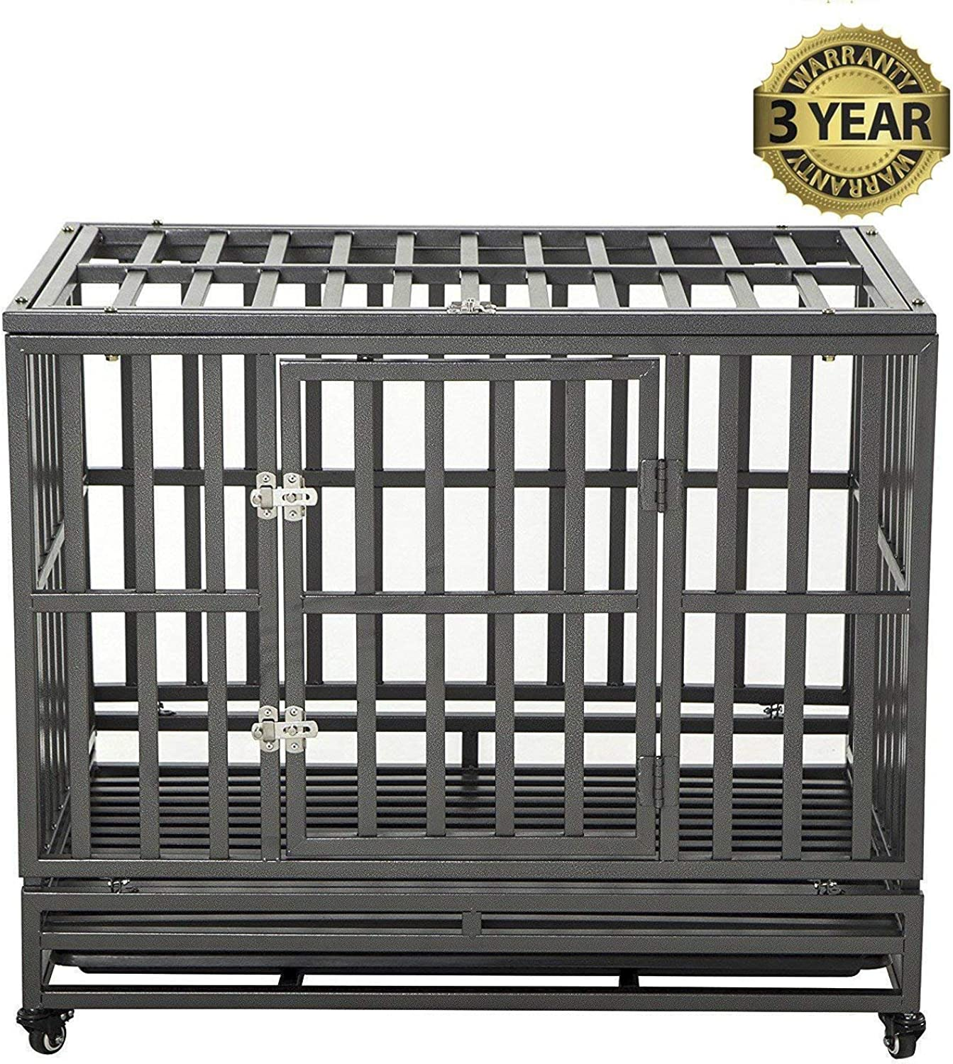 LUCKUP Heavy Duty Dog Cage Strong Metal Kennel and Crate for Medium and Large Dogs, Pet Playpen with Four Wheels,Easy to Install