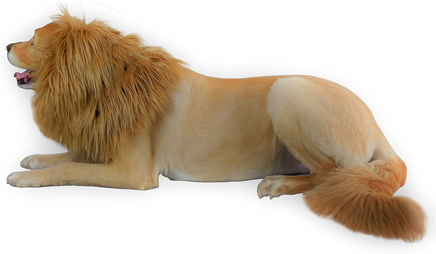 MOOZA Dog Halloween Costume Dog and Human Lion Mane Plus Tail Dog Costume Premium Quality con DoubleLayer Fabric, Comfortable Lion King Wig Costume per Animali e Human Make Your Dog Lion King!