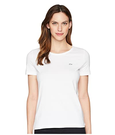 Lacoste Short Sleeve Classic Supple Jersey Crew Neck T-Shirt (White) Women