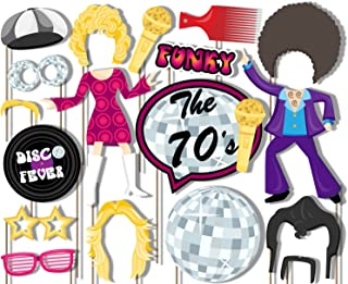 Birthday Galore 70's Disco Fever Photo Booth Props Kit - 20 Pack Party Camera Props Fully Assembled