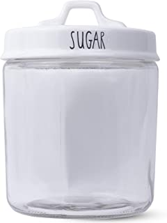 Clear Wide-Mouth Glass 1 Gallon Storage Jar, with Double Sided White Porcelain Lid by PotteryLove (Sugar)
