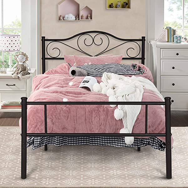 VECELO Classic Bed Frame Metal Platform Mattress Foundation Decorative Headboard Footboard With Heavy Duty Support Black Twin