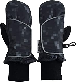 N`Ice Caps Kids and Baby Easy-On Wrap Waterproof Thinsulate Winter Snow Mitten (Black Pixel Print, 5-6 Years)