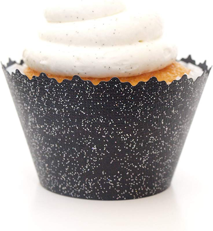 Glitter Colored Cupcake Wrappers Set Of 12 Glitter Black Sparkly