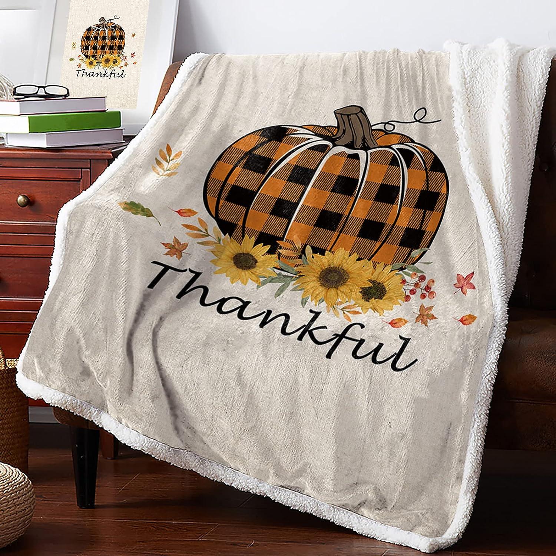 Warm Soft Fleece Throw Blanket Check store Pumpk Thanksgiving Oakland Mall Buffalo