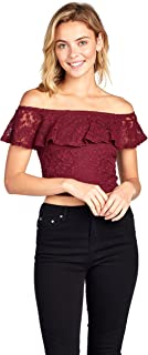 Short Sleeve Lace Off Shoulder Ruffled Layered Crop Top