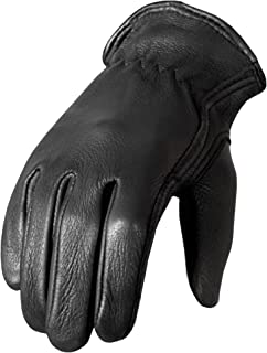 Hot Leathers Classic Deerskin Unlined Driving Gloves (Black, Large)