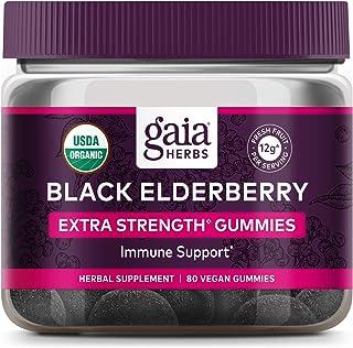 GAIA HERBS Organic Extra Strength Elderberry Gummies, 80 CT
