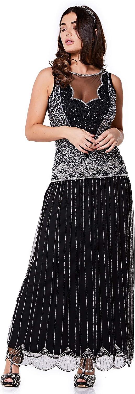 Gatsbylady london Elaina Drop Waist Flapper Maxi Dress in Black