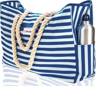 "Beach Bag XL. 100% Waterproof. L17""xH15""xW6"" (43x38x15cm) w Rope Handles, Top Magnet Clasp, Outside Pockets. Blue Stripes Shoulder Beach Tote Includes Phone Case, Built-in Key Holder, Bottle Opener"