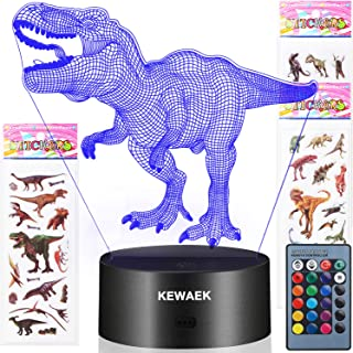 Dinosaur Toys - 3D Dinosaur Night Lights for Kids, 7 Colors Changing Decor Lamp with 3 Dinosaur Stickers, Christmas and Birthday Gifts for Boys Girls