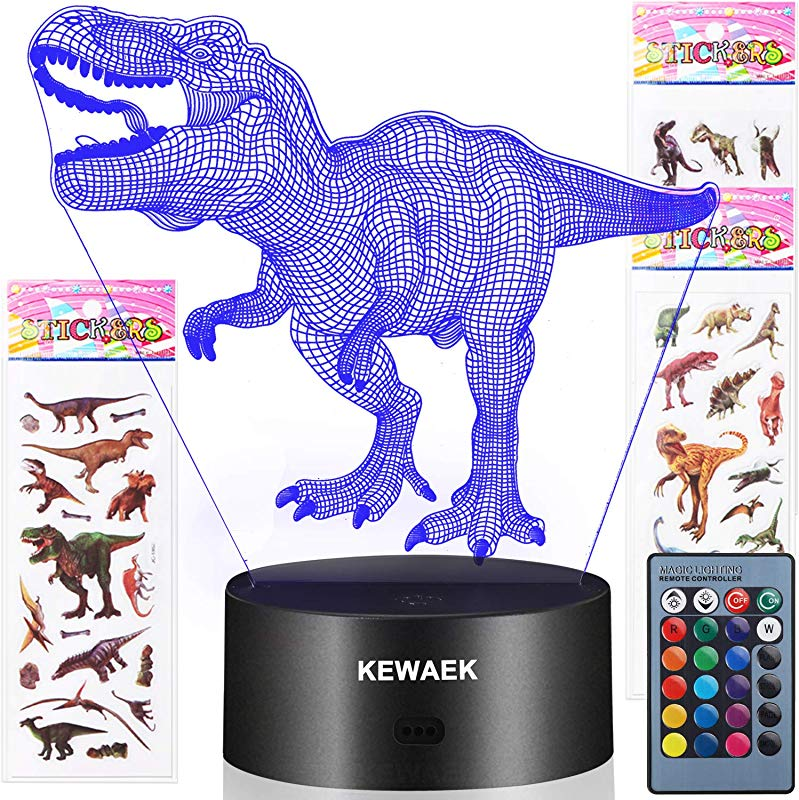 Dinosaur Toys 3D Dinosaur Night Lights For Kids 7 Colors Changing Decor Lamp With 3 Dinosaur Stickers Christmas And Birthday Gifts For Boys Girls