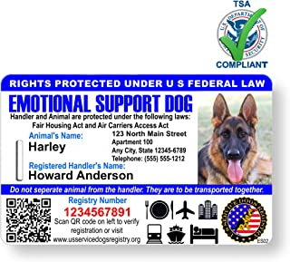 Just 4 Paws Custom Holographic QR Code Emotional Support Dog ID Card with Registration to Service Dogs Registry with Strap - Landscape Style