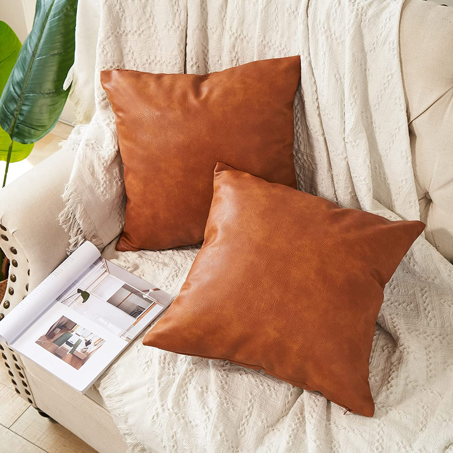 RutherCraft Pack of 2 Thick Faux Pillow Covers Squ Throw Shipping included Brand Cheap Sale Venue Leather