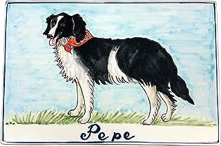 CERAMICHE D'ARTE PARRINI- Ceramica italiana artistica pannello in ceramica 30x20 personalizzato decorazione cane, mattonel...