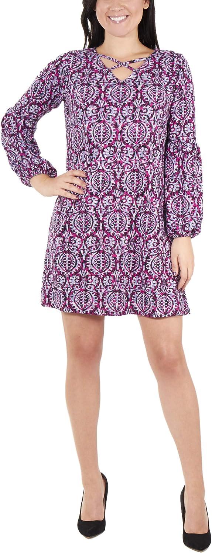 NY Collection Women's Petite Long Sleeve V Neck Lattice Dress
