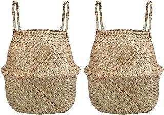 comprar comparacion Lawei 2 Piezas Seagrass cesta de cesteria de mimbre plegable colgante maceta Cesta de Almacenamiento de Flor Cesta de Lava...